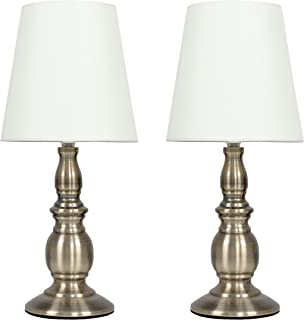 Pair of - Vintage Traditional Antique Brassed Touch Table Lamps with a Cream Shade