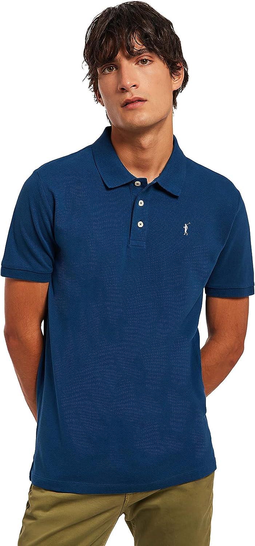 Polo Azul Marino Piqué para Hombre con Logo Bordado