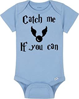 Baby Wizard Onesie® - Catch Me If You Can - Quidditch/The Golden Snitch Bodysuit - Handmade Baby Bodysuit For Boys And Girls