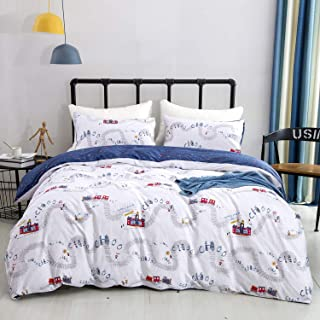Jumeey Kids Duvet Cover Set 100% Soft Cotton Train Bedding Set for Boys Girls Teens Reversible Navy Blue Cartoon Characters Castle Pattern Comforter Cover with Zipper Closure(3PCS Queen Size)