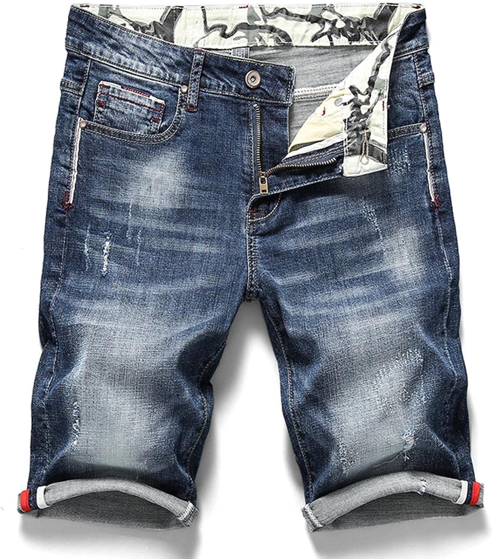 WoJogom Summer Men's Stretch Short Jeans Fashion Casual Slim Fit Elastic Denim Shorts Male Clothes