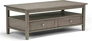 Simpli Home AXWSH001-GR Warm Shaker Solid Wood 48 inch Wide Rectangle Rustic Coffee Table in Distressed Grey