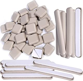 Liyic 48 Combo Pack Self-Stick Carpet Gliders for Chair-32PCS 1inch Square Self Adhesive Furniture Glides&16PCS 1/2