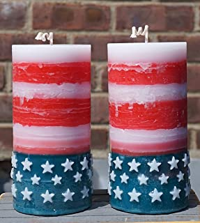 American Flag Pillar Candles - US Patriotic Red Blue White - Scented Unscented - Set of 2-3x6-100 Hour - 20 oz each - Rustic Table decoration- Made in USA