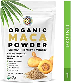 Earth Circle Organics - Organic Maca Root Powder, Natural Superfood, Helps with Energy, Hormone, Weight and Women's Fertility - USDA & Vegan Certified - 1 Pack