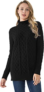 Women's Tunic Sweater Cable Knit Mock Neck Pullover Long Sweater Tops
