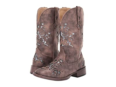 Roper Kennedy (Brown Faux Leather/Silver Underlay) Cowboy Boots