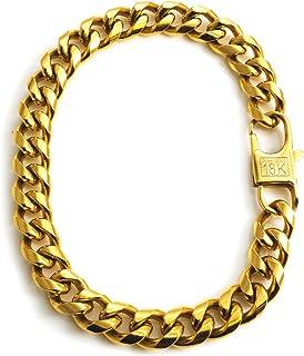 18k Dubai Real Gold Cuban Link Bracelet for Men Solid Plated Chain + Gift Bag