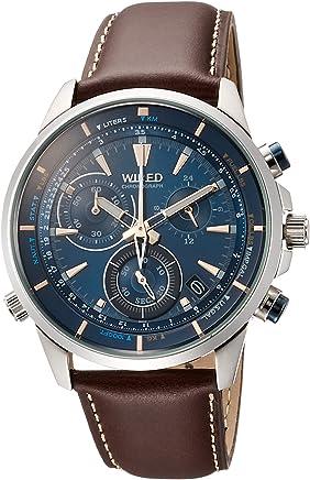 [ワイアード]WIRED 腕時計 WIRED THE BLUE クロノグラフ 簡易換算尺付文字盤 ブラウン革バンド 10気圧防水 AGAW447 メンズ