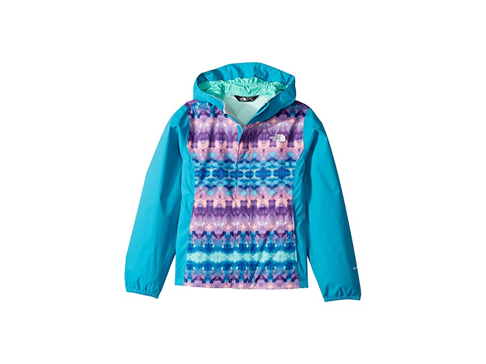 The North Face Kids Resolve Reflective Jacket (Little Kids/Big Kids) (Algiers Blue Fair Isle Print/Bermuda Green (Prior Season)) Girl