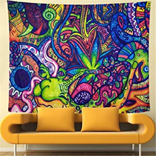 Flower Arabesque Tapestry Retro Pattern Wall Hanging Psychedelic Tapestry Abstract Figure Wall Tapestry Hippie Arabesque Tapestry Ethnical Intricate Wall Decor for Bedroom Decor