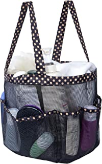 Attmu Portable Mesh Shower Caddy with 8 Mesh Storage Pockets, Quick Dry Waterproof Shower Tote Bag Oxford,Gold Spot