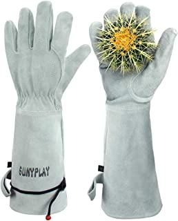 SUNYPLAY Gardening Gloves for Women/Men, Thorn Proof Cowhide Leather Garden Work Gloves