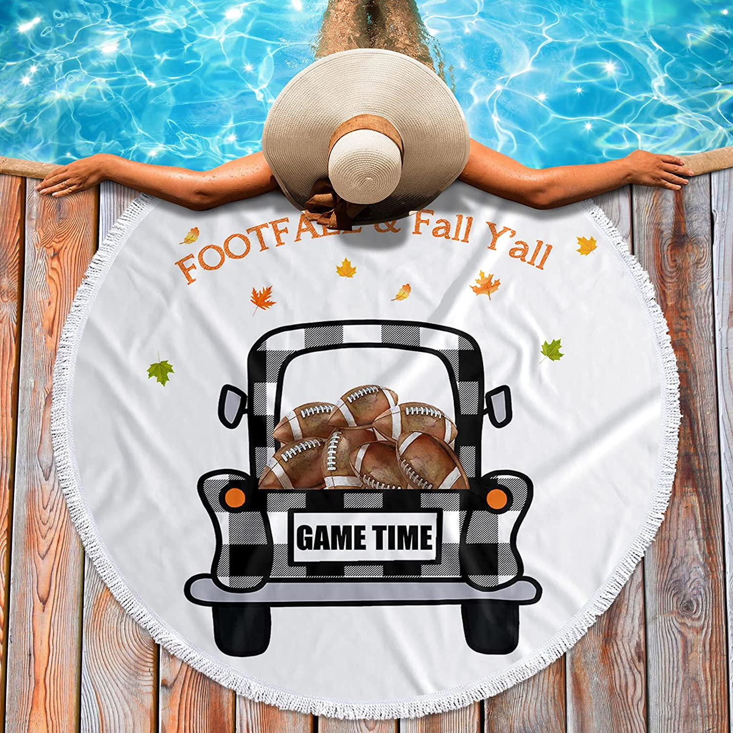 Krisyeol Soft Round Beauty products Beach Towel Plaid Truck Blanket Footba Same day shipping Carry