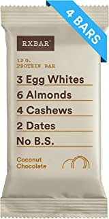 RXBAR, Coconut Chocolate, Protein Bar, 1.83 Ounce (Pack of 4) Breakfast Bar, High Protein Snack
