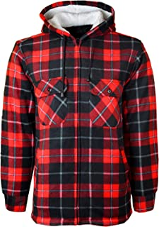MyShoeStore Unisex Padded Shirts Lumberjack Collared Hooded Flannel Check Jacket Thick Quilted Work Wear Warm Thermal Flee...