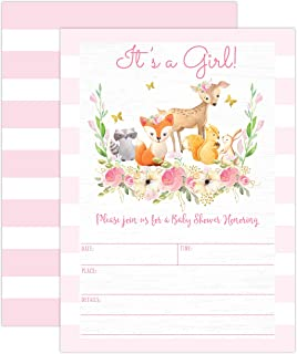 Pink Woodland Baby Shower Invitations, Forest Animal Baby Shower Invitations for Girl, with Bear, Raccoon, Deer, Baby Sprinkle, 20 Fill in Invitations and Envelopes