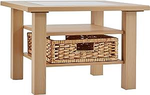 Alfa-Tische M323Tessa Beech Décor, Coffee Table with Glass Insert Set of 65x 65cm