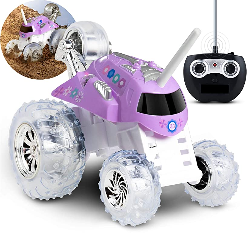 Sharper Image Twirling Tumbler Toy RC Car for Kids, Remote Control Monster Spinning Stunt Mini Truck for Girls and Boys, Racing Flips and Tricks with 5th Wheel, 27 MHz Flowers Lavender Purple