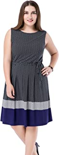 Women's Plus Size Printed Chevron Border Sleeveless Dress - Knee Length Casual Party and Work Dress