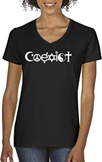 498 - Women's V-Neck T-Shirt Coexist World Peace Religion Anti-War Symbol