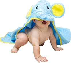 Hooded Elephant Baby Towel Large Blue 33x33″ | Delicate & Soft 100% Hypoallergenic Cotton Robe | Super Absorbent & Moisture Wicking Soft Cloth for Dry, Happy Boys & Girls