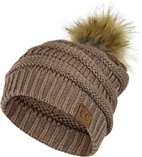 Folie Co. Chunky Cable Knit Beanie Hat w/Faux Fur Pom Pom – Winter Soft Stretch Skull Cap