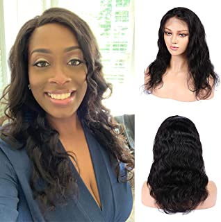 LBE Brazilian Virgin Human Hair Lace Front Wigs with Baby Hair for Black Women, 130% Density, Body Wave, Natural Black Color (12 inch)
