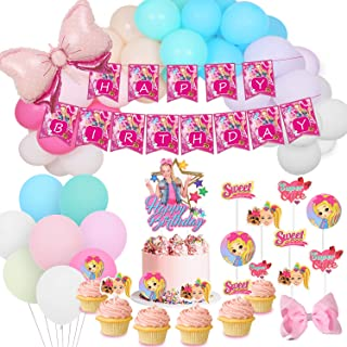"""JoJo Birthday Party Supplies Pack Include Happy Birthday Banner - Rainbow Balloon Garland Kit - Cake Topper - 24 Cupcake Toppers - 5"""" Hair Bows for Jojo Siwa Birthday Party Supplies Decorations"""