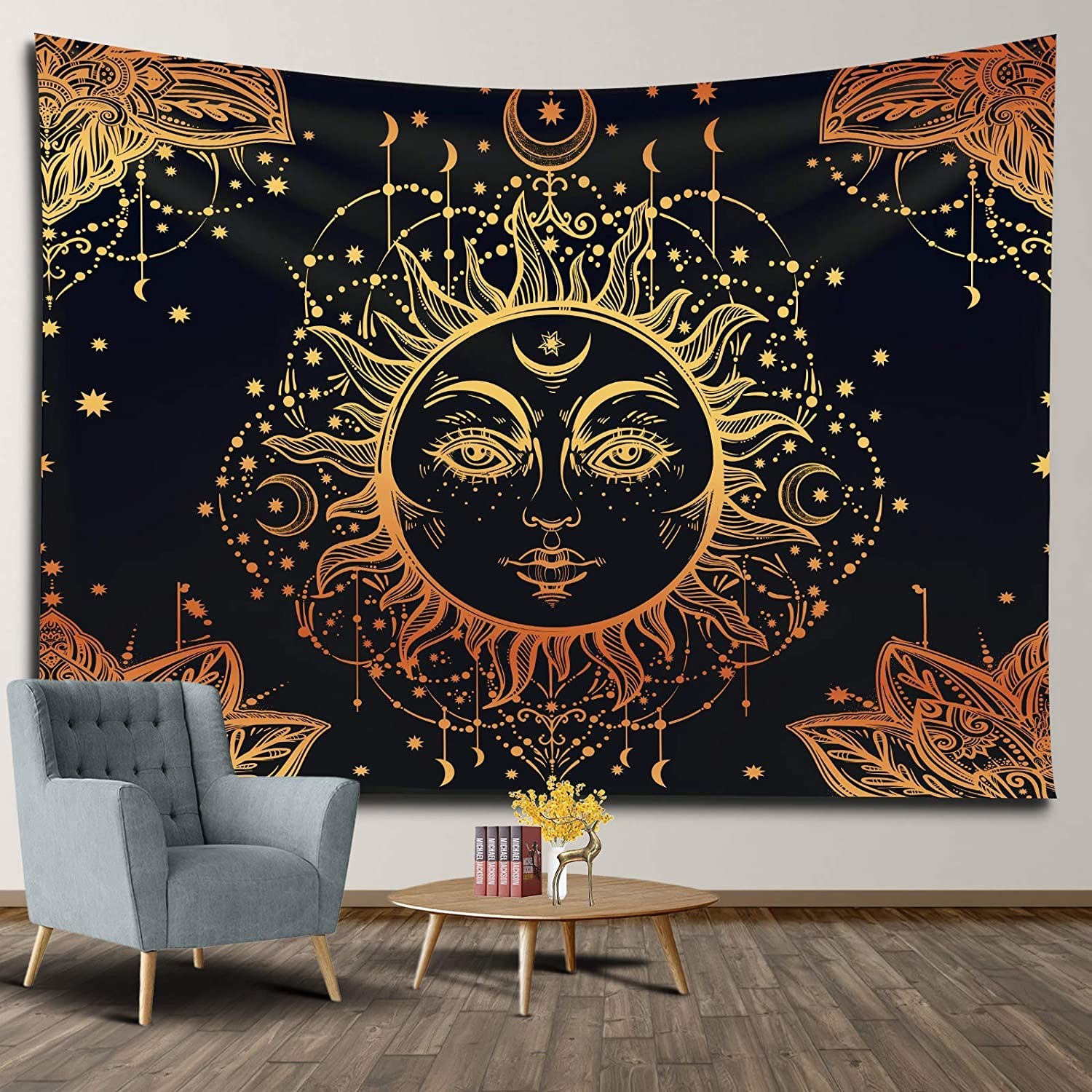 APKOL Sun Fort Worth Mall and Max 57% OFF Moon Tapestry Black Psyche Hanging Wall Golden