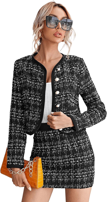 SweatyRocks Women's Business Cheap bargain Suit 2 Max 46% OFF Pieces Tweed Jacket C Blazer
