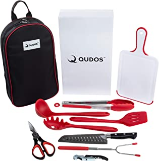Qudos Cooking and Grilling Utensil Organizer Travel Set with Carry Case - Portable Camping Tools and Kitchen Accessories - Cookware Travel Kit with Chopping Board, Scissors and Knife - Grill Supplies