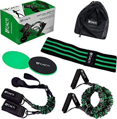 Resistance Bands Full Body Home Workout Set - 5 Stackable Exercise Bands, 3 Loop Resistance Bands, 2 Core Sliders, Handles for Arms, Door Anchor, Ankle Straps for Legs, Gym Carry Bag
