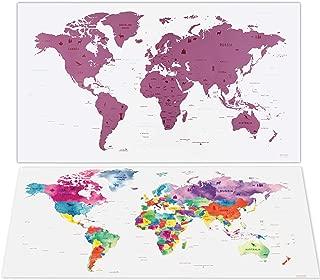 Mapa Mundi Rascar - Mapas del Mundo Para Marcar Viajes - Mapa Rascar en 80 cm x 40 cm - Rosa - Scratch Off Travel Map