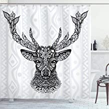 Ambesonne Deer Shower Curtain, Aboriginal Floral Polynesian Deer Pattern Mammal Boho Design, Cloth Fabric Bathroom Decor Set with Hooks, 84 Long Extra, Black Gray