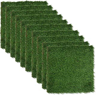 ECOOPTS Artificial Grass Turf Tile Interlocking Deck Tile Synthetic Grass Mat for Patio Balcony Garden Flooring Indoor Out...