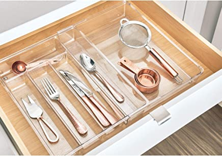 InterDesign Linus Expandable Kitchen Drawer Organizer for Silverware, Spatulas, Gadgets - Clear