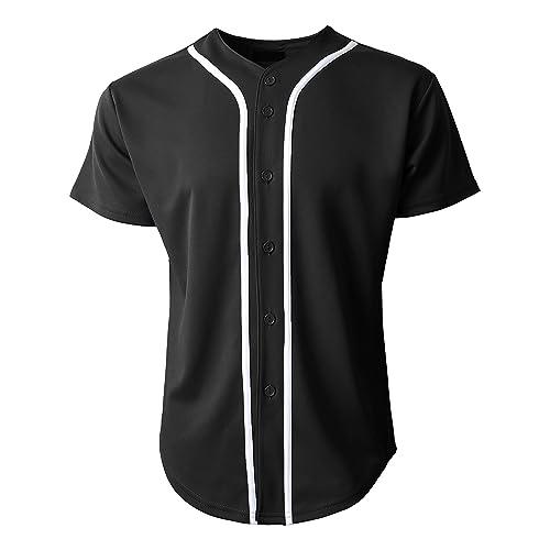 6074dcf0 Mens Baseball Team Jersey Button Down T Shirts Plain Short Sleeve Top