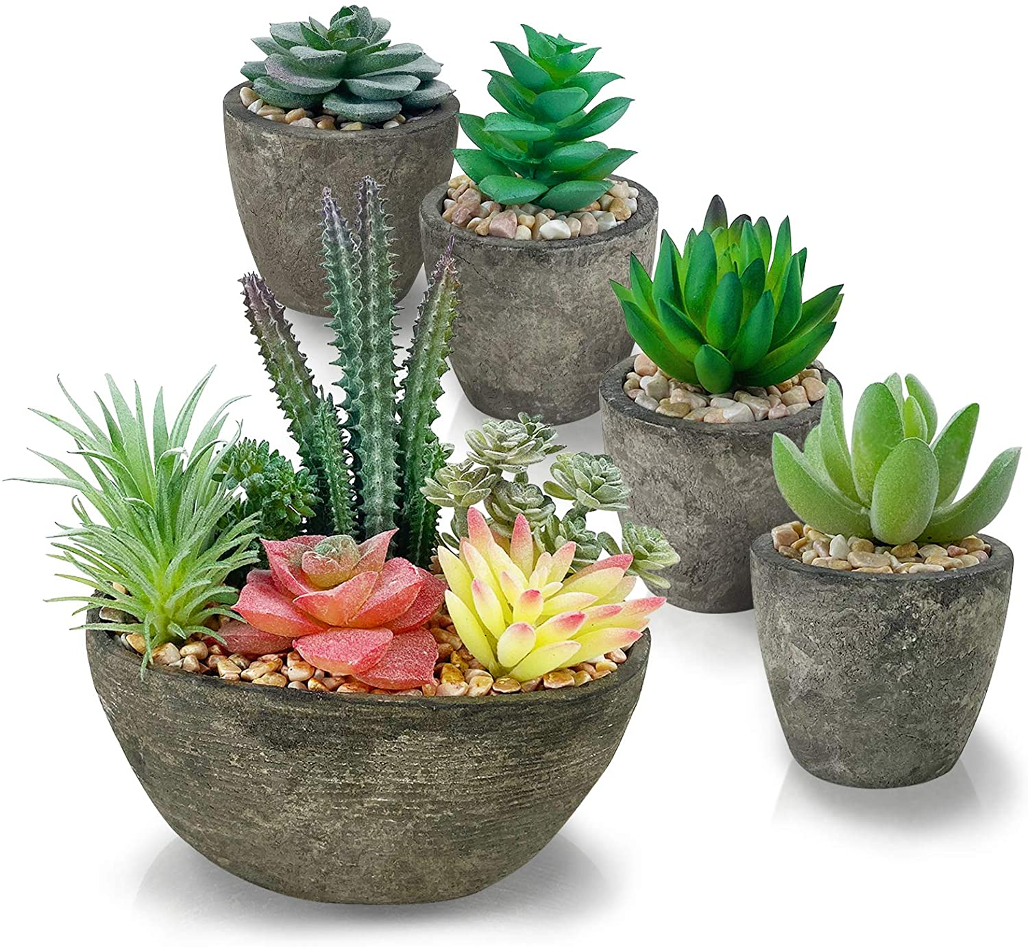 Succulents Plants Artificial Set of 5, Realistic Fake Succulents with Cement Like Pots for Home Office Decoration.