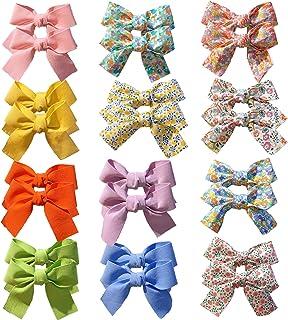 24 قطعة - 12 لونًا للأطفال البنات فيونكات شعر مشابك مشابك شعر إكسسوار للأطفال الرضع والأطفال الصغار والأطفال في أزواج