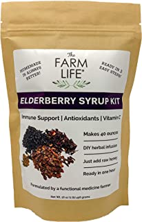 Organic Elderberry Syrup Kit - Immune Support for Kids and Adults - makes 48oz of syrup - DIY - Antioxidants and Vitamin C - Black Elderberry - Rosehip - Hibiscus - Cinnamon - Clove