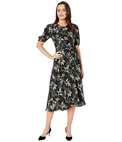 Donna Morgan Floral Printed Elbow Sleeve High-Low Georgette Dress (Black/Hunter Multi) Women