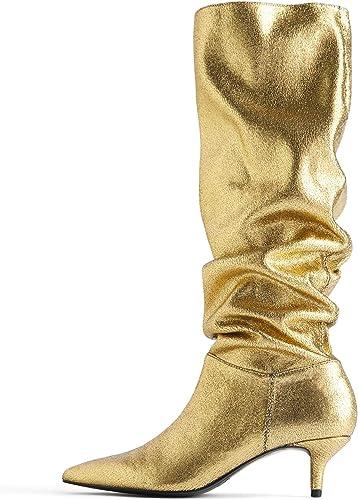 Zara Femme Bottes métallisées à Talons Kitten Heel 7006 001