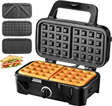 TIBEK Waffle Maker, Sandwich Maker, Sandwich Grill, 1200-Watts, 5-Gears Temperature Control, 3-in-1 Easy Clean Removable Non-stick Coating Plates, LED Indicator Lights, Cool Touch Handle, Black