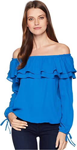 Short Sleeve Ruffle Peasant Blouse