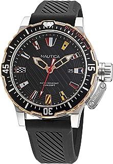 ساعة نوتيكا ستانلس ستيل كوارتز بسوار من السيليكون، اسود، 22 كاجوال موديل NAGLF003