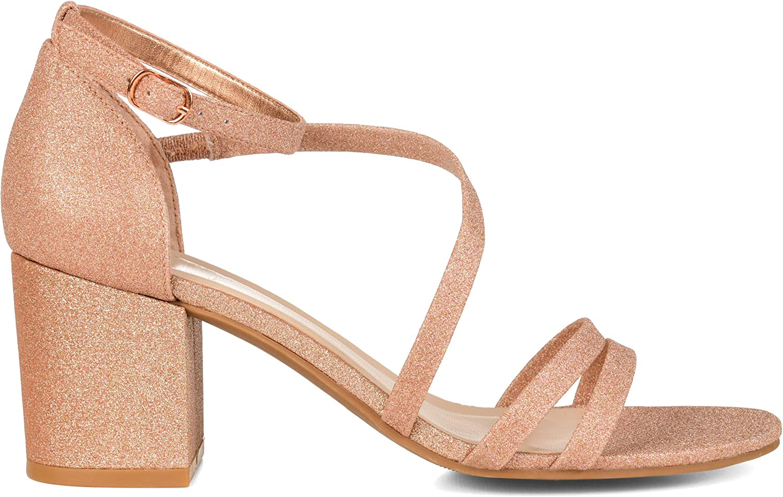 Brinley Co. Womens Glitter Crossover Strap 6.5 Pump Rose Gold W Max Austin Mall 63% OFF