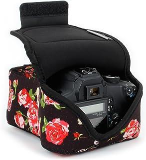 USA Gear Funda para Cámara DSLR con Protección de Neopreno Presilla para Cinturón y Almacenamiento de Accesorios - Compatible con Nikon D3400 Canon EOS Rebel SL2 Pentax K-70 y más - Floral