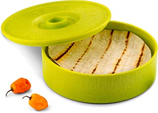 KooK Tortilla Warmer, 8 inch, Holds up to 12 Tortillas (Green)
