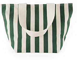 BAGGU Canvas Zip Tote, Shopping or Lunch Bag, Recycled Palm Stripe